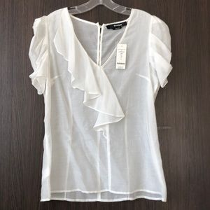 See through cotton/silk short sleeve blouse